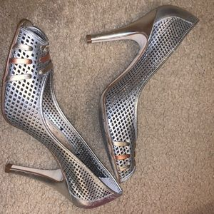 Silver peep toe pumps